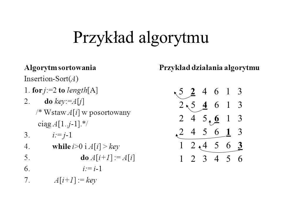 Przykład algorytmu Algorytm sortowania. Insertion-Sort(A) 1. for j:=2 to length[A] 2. do key:=A[j]
